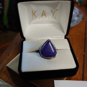 Sterling Silver Purple Teardrop Ring